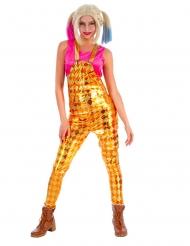 Harlekin-Latzhose Kostüm-Teil für Damen verrückte Superheldin gelb-orange