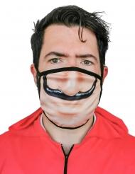 Bankräuber Mund-Nasen-Maske Accessoire für Erwachsene beige-schwarz