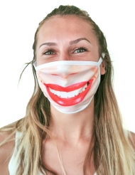 Lippenstift Mund-Nasen-Maske Accessoire für den Alltag beigefarben-rot
