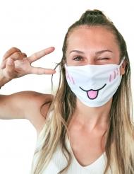 Süße Katzen-Gesichtsmaske für den Alltag Accessoire weiss-rosa