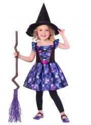 Kleine Hexe Kinderkostüm für Halloween violett-schwarz