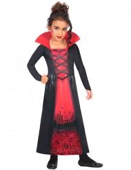 Vampir-Kostüm für Mädchen mit hohem Kragen rot-schwarz