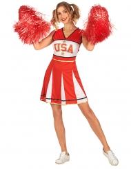 USA Cheerleader-Kostüm für Damen Sportler-Kostüm rot-weiss