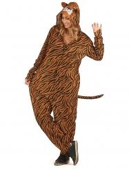 Tigerkostüm für Damen Tier-Overall Karneval orange-schwarz-weiss