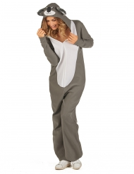 Süßes Koala-Kostüm für Damen Tier-Overall Karneval grau-weiss