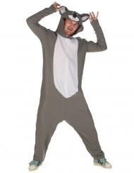 Tierisches Koala-Kostüm für Herren Tier-Overall grau-weiss