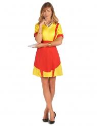 50er Jahre Kellnerin-Kostüm für Damen Diner-Lady USA rot-gelb