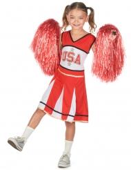 Sportliches Cheerleader-Kostüm für Mädchen USA rot-weiss-schwarz