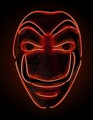 LED-Maske Bankräuber Halloween-Accessoire für Erwachsene rot
