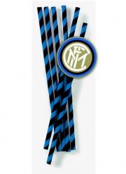 Inter Mailand™-Trinkhalme für Fußballabende 12 Stück blau-schwarz 19,5 cm