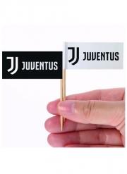 Juventus™-Party-Picker für Häppchen Tischzubehör 24 stück schwarz-weiss 6,5 x 5 cm