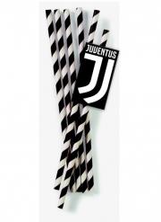 Juventus™ Strohhalme aus Pappe Tischzubehör für sportliche Partys 12 Stück schwarz-weiss 19,5 cm