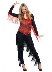 20-er Jahre Charleston-Kostüm für Damen Faschings-Overall schwarz-rot