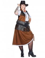Traditionelles Cowgirl-Kostüm Western-Verkleidung Übergröße braun-schwarz-weiss