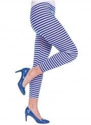 Gestreifte Leggings für Karneval Kostüm-Zubehör blau-weiss