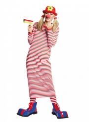 Ringelkleid für Damen Ringelshirt für Karneval rot-weiss