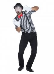 Pantomime-T-Shirt Kostümzubehör für Karneval schwarz-weiss