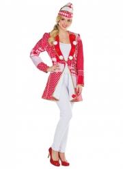 Patchwork-Narrenjacke für Damen Kostüm-Zubehör Karneval rot-weiß