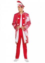 Narrenjacke Patchwork-Kostüm für Herren Karneval rot-weiss