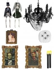 Halloween Skelett-Deko-Set Premium-Zubehör braun-schwarz-weiss