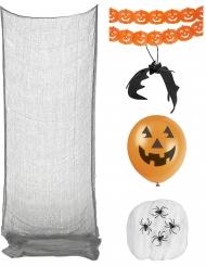 Kürbis und Spinnen Deko-Set für Halloween Partyzubehör schwarz-orange