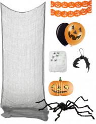 Deko-Set Halloween Spinnen-Dekoration Partyzubehör schwarz-orange-weiss