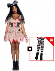 Voodoo-Puppen-Kostüm-Set mit Strumpfhose Halloween-Verkleidung beige-schwarz-rot