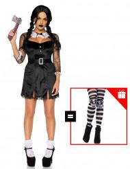 Mörderisches Schulmädchen-Kostüm für Halloween schwarz-weiss