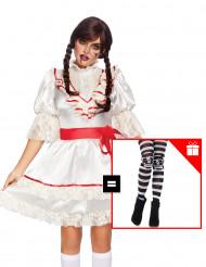 Horrorpuppen-Kostüm für Damen Halloween-Verkleidung weiss-rot