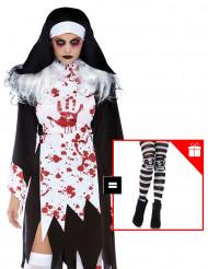 Schauriges Nonnenkostüm für Damen Horror-Nonne schwarz-weiss