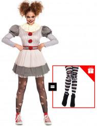 Horrorclown-Damenkostüm für Halloween grau-weiss-rot