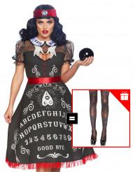 Ouija-Kostüm für Damen mit gratis Strumpfhose Halloween-Kostüm schwarz-weiss-rot