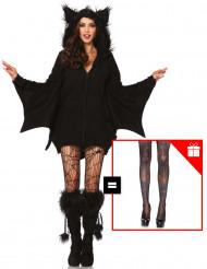 Sexy Fledermaus-Kostüm für Damen mit Gratis-Strumpfhose