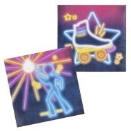 Stimmungsvolle Disco-Servietten Schlagerparty 12 Stück bunt 33 x 33 cm