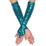 Schimmernde Meerjungfrauen-Armstulpen Kostümaccessoire blau