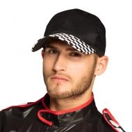 Sportliche Rennfahrer-Mütze für Erwachsene Kopfbedeckung schwarz-weiss