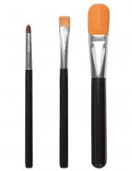 Make-up Pinsel-Set Schmink-Zubehör 3-teilig schwarz-silberfarben