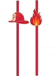 Feuerwehr-Trinkhalme für Kindergeburtstage Tischzubehör 10 Stück rot