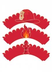 Muffin-Formen Feuerwehr Backzubehör für Kindergeburtstage 6 Stück rot