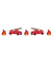 Feuerwehr-Partygirlande für Kindergeburtstage Raumdeko rot-schwarz 3 m