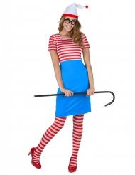 Wimmelbild-Kostüm für Damen rot-weiß-blau