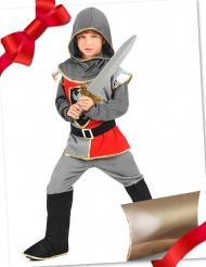 Ritterkostüm-Geschenke-Set für Kinder mit Schwert und Geschenk-Tasche silber-rot