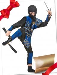 Ninja-Geschenke-Set für Kinder Krieger-Kostüm blau-schwarz