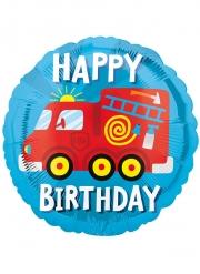 Happy Birthday Feuerwehrauto-Folienballon Raumdeko bunt 102 cm