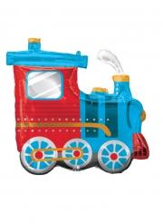 Dampflokomotive-Luftballon für Kindergeburtstage Raumdeko blau-rot-gold 63 x 55 cm