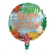 Happy Birthday-Folienballon für Geburtstage Mitbringsel Tropic bunt 45cm