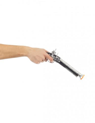 Piratenpistole Kostümzubehör schwarz-silberfarben-1