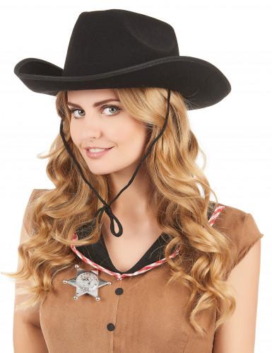 Cowboyhut für Erwachsene schwarz-1