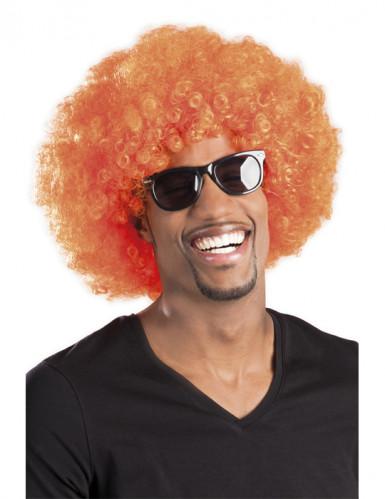 Afro-Perücke Disko orange für Erwachsene