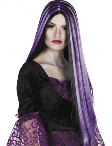 Damenperücke Gothik schwarz-violett Halloween